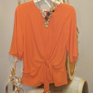 🏵️Worthington fiery orange chiffon top sz M nwt